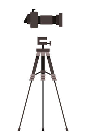 Cartoon colorful vector icon isolated at white background. Professional high resolution camera, digital camera with removable lens, side view. Icon of tripod for photocamera or reflex camera Illustration