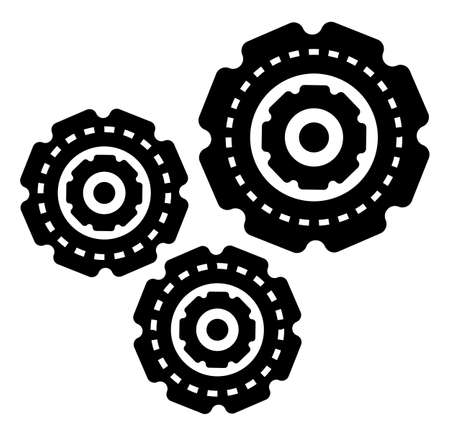 Setting engineering symbol in black color factory construction element. Cogwheel manufacturing object isolated on white. Mechanic technician equipment or development tool system for process vector