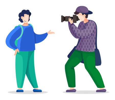 Flat vector illustration with isolated cartoon characters at white background. Stylish professional photographer shooting, taking photo of smiling posing guy with reflex camera, photo equipment Ilustração