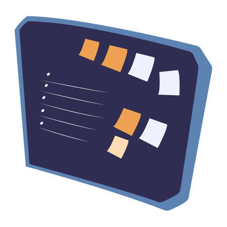 Desk with points and stickers. Task appointments and successfully organizing on board in blue color. Office element for productivity work and organization, business items and goals on label vector