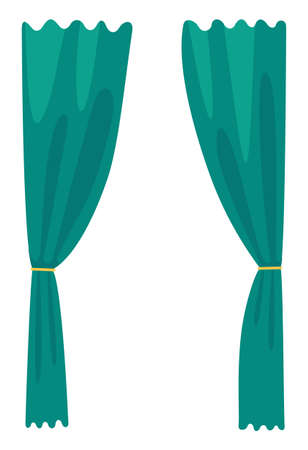 Vector cartoon icon isolated at white background. Velvet or textile green curtains for theatre stage, as decoration for cinema hall or presentation. Opening curtain drapery for using at window 矢量图像