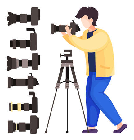 Vector illustration of cartoon character isolated at white background. Photographer, paparazzi with digital camera and tripod. Set of icons, reflex cameras with removable lens. Photo equipment concept
