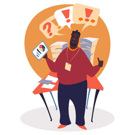 Business training vector, man holding document with charts and data. Office worker with badge on neck. Exclamation and question marks above head. Workspace, table loaded with papers flat style Ilustrace