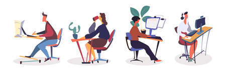 Set of people successfully organizing their appointments and tasks. Male and female employees at office, sitting at desk, working with computer, drinking coffee at workplace vector illustration Vetores