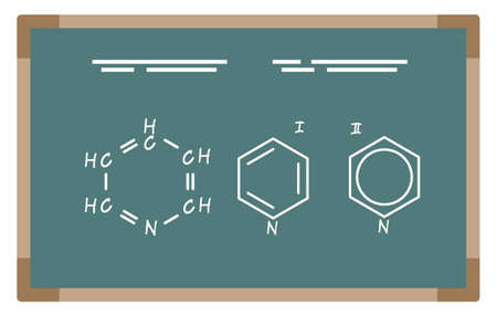 Molecular formula on chalkboard. Chemical elements on blackboard. Chemistry lessons or experiments conduction. Results of scientific researches. Substance properties analysis, vector in flat