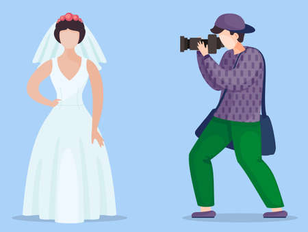 Faceless vector cartoon characters in flat style isolated at blue background. Photographer or cameraman making photo of model wearing white wedding dress, decorate with wreath roses and veil