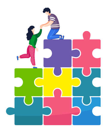 Vector illustration, joint teamwork in the company, man helps a woman climb a pyramid of puzzles. Joint work, common success and team support, the path to the top in relationships and business Illustration