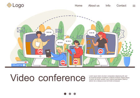 Video conference landing page for home office. Online business conference. Online webinar. People listen to the lecturer. Internet group conference, training test, work from home, easy communication