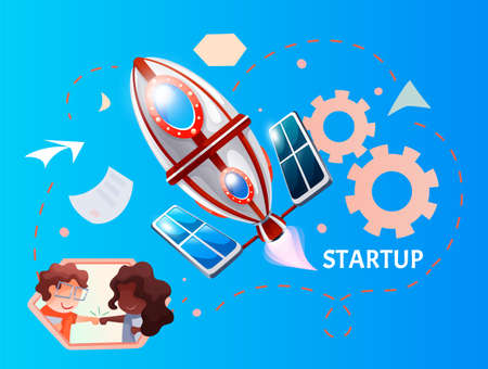 Funny cartoon illustration with space rocket launch. New business project concept of working people in team, mix race people high five, success project. Startup technology process, business planning