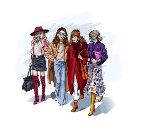 Female character wearing luxury stylish clothes walking holding hands. Close friends with fashionable lifestyle, clothing and accessories. Ladies in dresses and coats, hats and trousers vector sketch