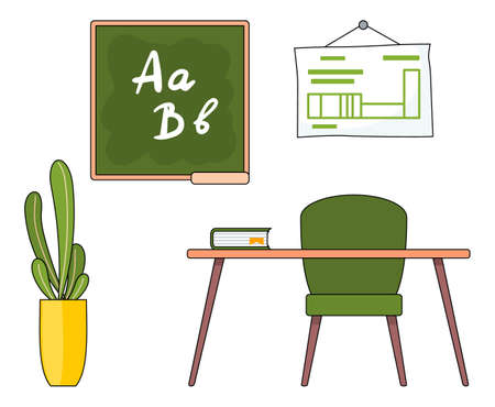 Illustration of teacher s workplace in a cartoon style. Back to school concept, education theme. School class or study room, a chair and a table with book, a poster and a school board on the wall