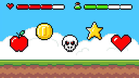 Pixel art game background with reward object in the air. Game scene with grass platform and prizes important to the player, object symbols apple, heart, star, coin, cranium, life and health bar
