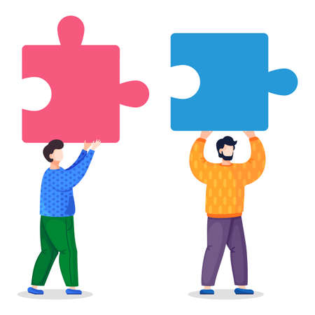 Isolated at white background vector illustration of two partners, colleagues or workers holding colorful puzzle elements. Joining, connecting pieces of jigsaw. Detail of business project in flat style