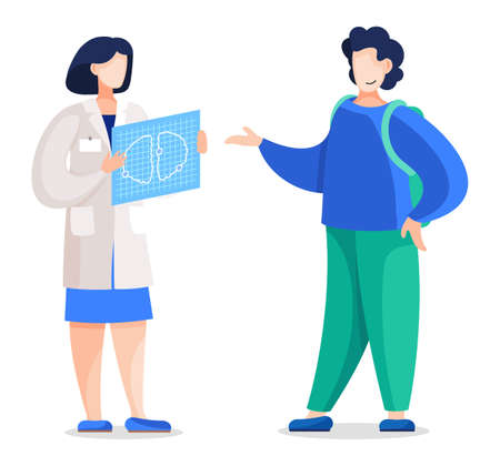 Doctor woman with mri scan telling patient about his problems with health. Vector illustration of computed tomography examination image and ill person with brain cancer, oncology concept flat style
