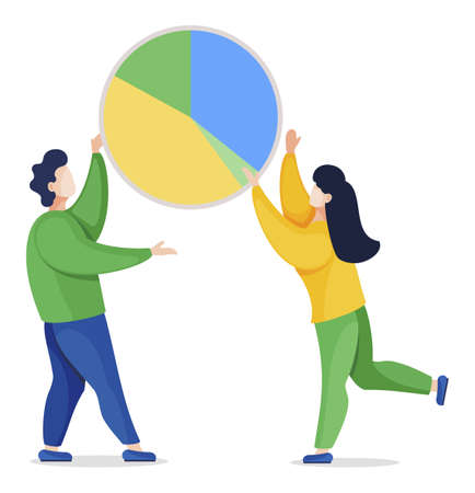 Man and woman standing and holding big diagram. Icon of chart with colorful segments. Analytics and statistics graphic for presentation. People and project isolated. Vector illustration in flat style