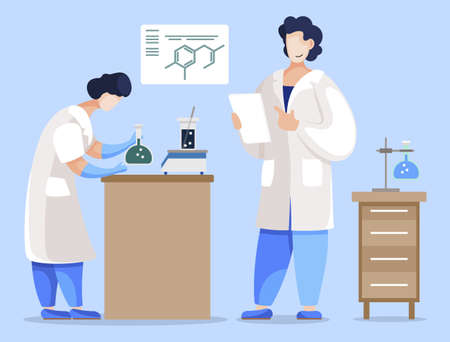 Colleagues working in team. Scientists conducting experiment, teamwork of researchers. Student and professor of chemistry lessons. Chemist observing intern in laboratory, vector in flat style
