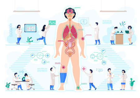 Growing body parts in medical laboratory, doctors and scientists vector. Human anatomy, great scientific achievement, lab-grown bioartificial organs. Scientific research and medicine illustration