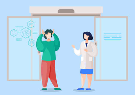 Doctor telling intern student of failure. Medical worker upsetting patient with bad news. Frustrated man standing by laboratory talking to scientist. Hospital or clinic workers, vector in flat style