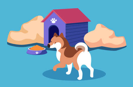 Dog kennel with pet, bowl with canine food, puppy near doghouse isolated vector illustration in flat cartoon style. Pedigree dog near his home, paw print on roof, abstract bushes and siberian husky Ilustracja