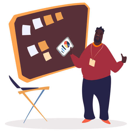 African american entrepreneur making presentation. Business planning and time management. Information board with colorful sticky notes. Laptop on stand. Tasks organizing concept vector illustration