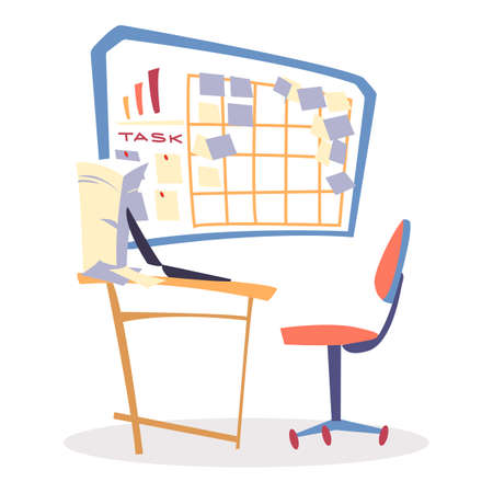 Spiny chair by table in office with laptop, room interior. Lot of paper sheets on wooden desk. Task board with diargam, spreadsheet and tasks, notes on pinned stickers. Vector workplace side view 矢量图像