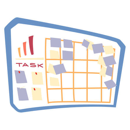 Planning board with notes and stickers vector. Taskboard with appointments and events at work. Working efficiency increasing, controlling completion of tasks. Planning and making strategies at job