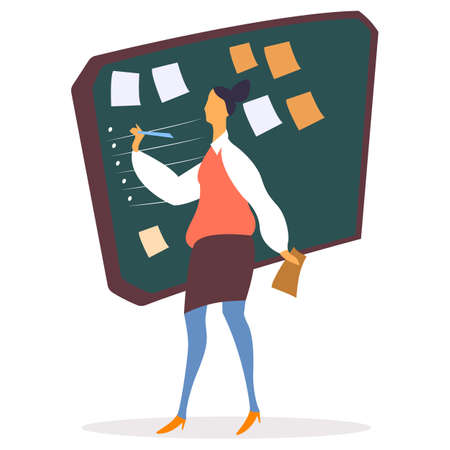 Woman filling list on whiteboard vector. Leader of company giving tasks on board. Taskboard with stickers and memos to remind of appointments and events. Business schedule for productivity increasing