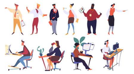 People working in office as managers vector. Man and woman working by laptop. Worker in hotline service answering clients question. Customers support freelance. Business coach with document report Vectores