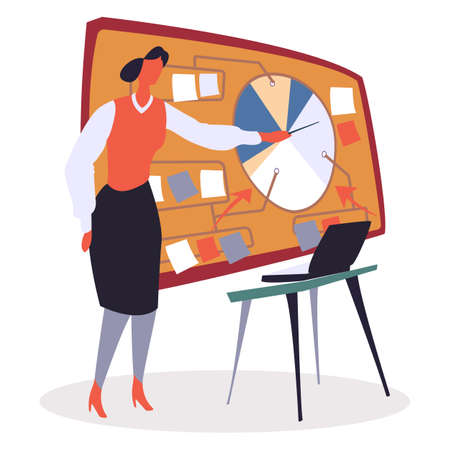 Businesswoman giving seminar, explaining diagram vector illustration. Presenter in office, business education. Coach on courses for data analysis beginners. Table with computer, presentation with info
