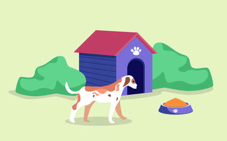 Doghouse or dog kennel with adorable pet, bowl with canine food, green bushes round puppies house. Vector illustration in flat cartoon style of pedigreed dog near his home, paw print on roof