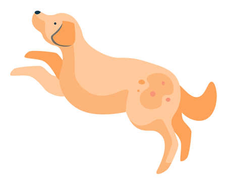 Pet character, active animal jumping and playing. Isolated dog with spot on furry coat. Playful puppy in profile. Friendly canine mammal doggy personage with fluffy fur. Vector illustration flat style