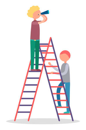 Two men standing on stepladder. Adult male watching or observing something through hand telescope. People climbing on ladder with supervise tool isolated on white. Vector illustration of watcher