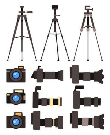 Collection of cartoon colorful vector icons isolated at white background. Set of professional high resolution cameras, digital camera, front and side view., tripods, photocamera with removable lens Illustration
