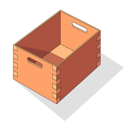 Wooden box isometric vector icon. Pallets fruits and vegetables transportation container, drawers and empty wood crates, cargo distribution pack. Open delivery wooden box and parcels, cargo, logistic