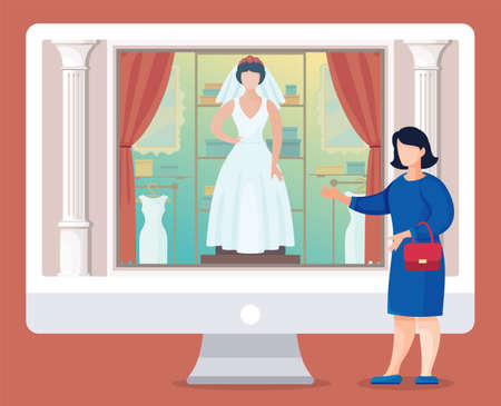 Design of website of bridal salon at modern computer monitor. Woman wearing blue dress and with mini bag presenting site, gesture hand. Vector illustration in flat style with cartoon character
