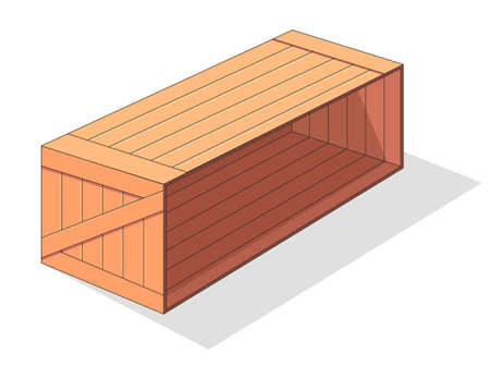 Wooden box isometric vector icon. Pallets fruits and vegetables transportation container, drawers and empty wood crates, cargo distribution pack. Delivery wooden box and parcels, cargo, logistic Ilustração