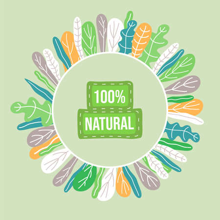 Save nature, ecology, eco friendly concept. Green sticker,  poster, banner, for apps, websites, polygraphy, adds. Colorful leaves create circle with text inside at green background in flat style Illusztráció