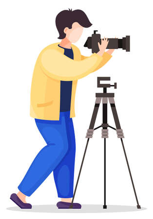 Photographer is standing near the professional tripod and taking picture. Cartoon photographer is holding photo camera and photographing. Vector flat design illustration isolated on white background
