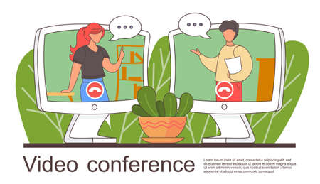 Video conference landing page for home office. Online friends conference. Online webinar. People listen to the lecturer. Internet group conference, training test, work from home, easy communication Векторная Иллюстрация
