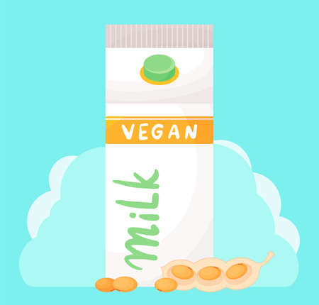 Paper, carton pack, box with plastic cap. Vegan soy milk at turquoise, cloud background. Natural milk product. Illustration in cartoon style. Soybean pods near pack. Organic dairy free product
