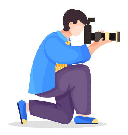 Photographer or paparazzi kneel to take best photo using professional high resolution camera with removable lens. Man shooting, using professional equipment. Cartoon character at white background