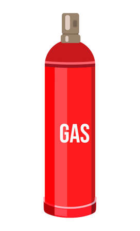 Red gas cylinder. Compressed gas into container under pressure. Balloon filling gas. Gas storage. Cartoon illustration, icon. Dangerous, flammable, explosive gas. Isolated at white background