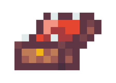 Wooden opened chest with gold. Pixel art icon. Video game 8-bit sprite. Isolated vector illustration. Pirate chest cartoon pixel design icon game assets bi sprite element design for mobile app