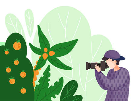 Tourist taking photo of exotic tropical tree, bush with tangerines or mandarins, palm with reflex camera. Photographer shooting nature during journey, travelling. Man using professional equipment Ilustração