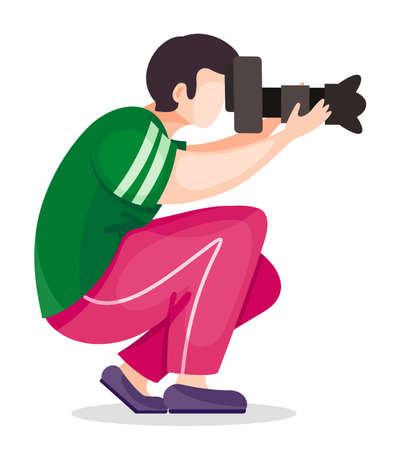 Photographer or paparazzi squatted down to take the best photo from right angle using high resolution camera with removable lens. Man shooting, using professional equipment. Icon at white background Ilustração
