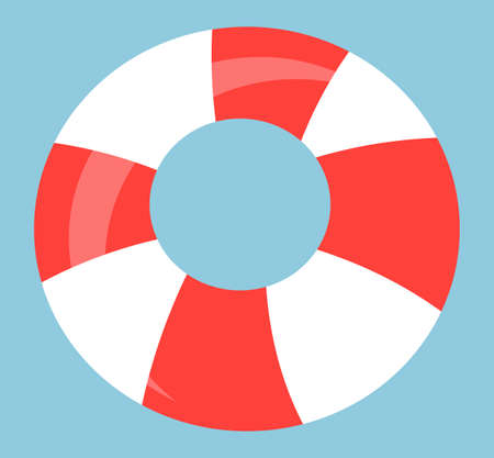 Lifebuoy icon, striped safety symbol, red and white lifebuoy equipment for saving human life from water. Ring lifeguard to prevent drowning. Emergency sea tool. Lifesaving inflatable ring symbol Stock Illustratie