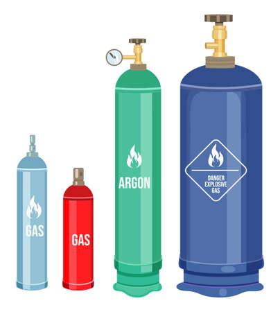 Collection of cartoon vector icons. Gas cylinders, balloons with gas, argon. Danger explosive gas, warning sign. Reservoirs with regulators. Gas container with indicator, manometr. Flammable gas Stock Illustratie