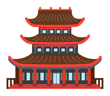 Asian or Chinese building or temple in the traditional style isolated on white background. Traditional asian construction pagoda ancient temple cultural architecture object. Palace roof bent up corner