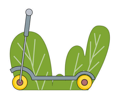 Simple vector colorful cartoon icon of scooter isolated. Electric scooter, eco transport, vehicle at green bush background. Balance bike with yellow wheels. Save nature, go green, push scooter Illustration