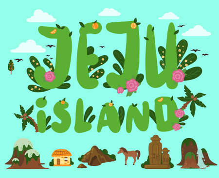 Banner with image of the main attractions of the south korean island Jeju and the inscription. Mountaine hallasan, waterfalls, stone figures, tropical plants in botanical garden, asian village house